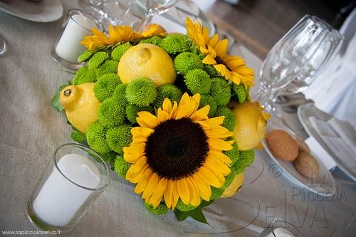 Centrotavola Con Girasoli Matrimonio : Matrimonio a tema giallo con girasoli e limoni