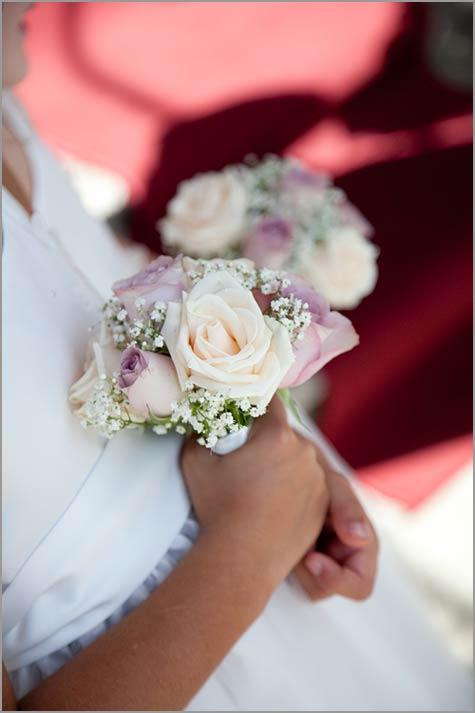bouquet damigella con rose lilla