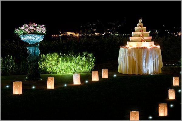 illuminazione torta nuziale Hotel Dino Lago Maggiore