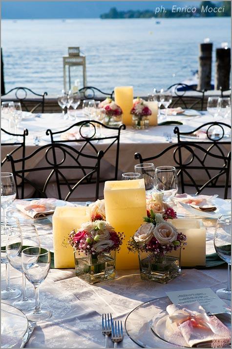 centrotavola matrimonio ristorante Orta Beach Club
