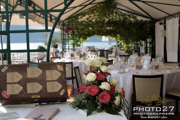 centrotavola matrimonio Hotel Giardinetto Pettenasco