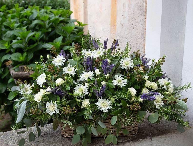 Cestino florele con lavande, margherite e rosmarino