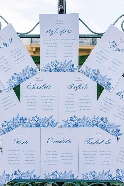 Tableau marriage nozze Villa Claudia