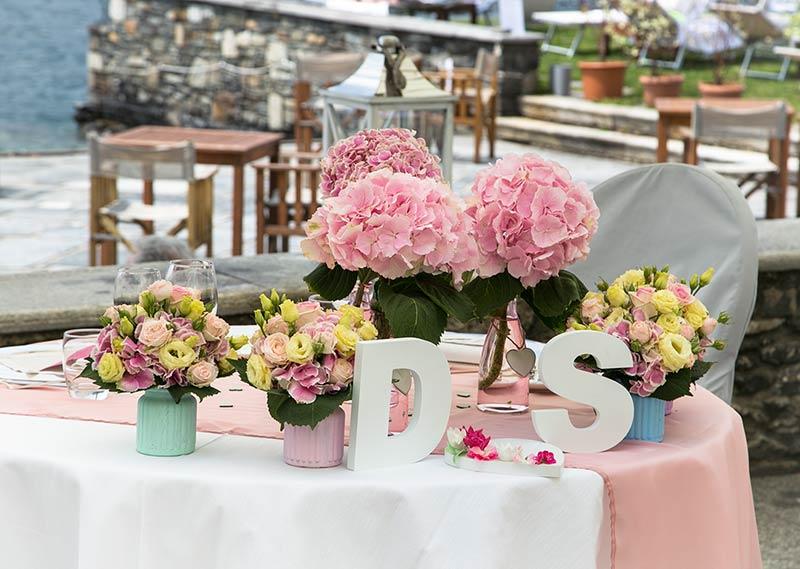 Allestimento tavolo sposi per ricevimento al Hotel San Rocco