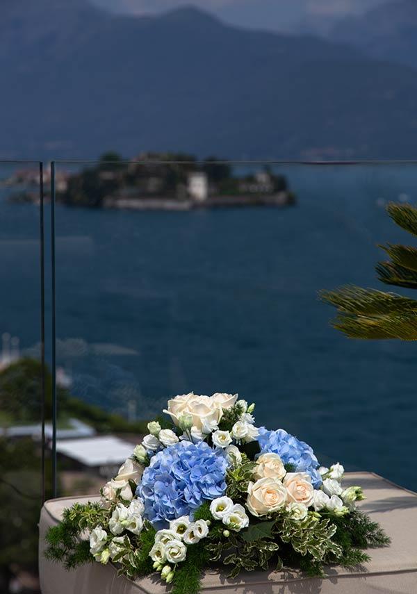 Centrotavola matrimonio al Hotel La Palma di Stresa