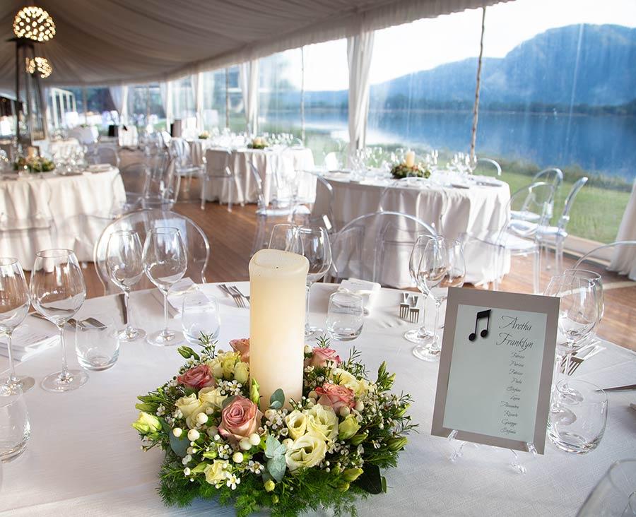 Centrotavola matrimonio al ristorante Piccolo Lago di Mergozzo