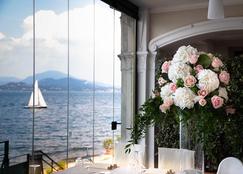 Centrotavola matrimonio al ristorante Belvedere, Isola dei Pescatori