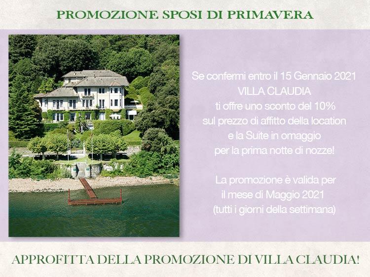 promozione sposi di Villa Claudia per Maggio 2021