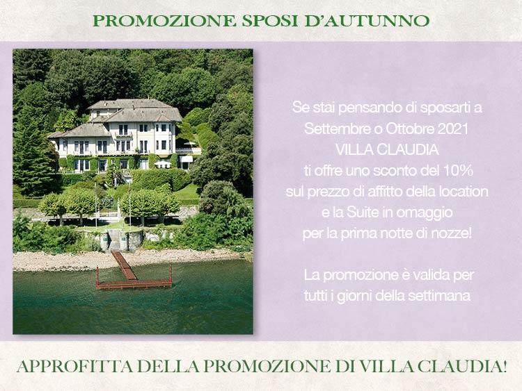promozione sposi di Villa Claudia per Settembre Ottobre 2021