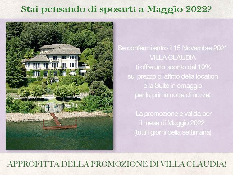 promozione sposi Villa Claudia per Maggio 2022